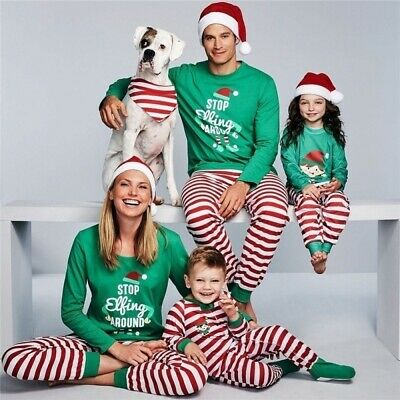 Family Santa Claus Matching Christmas Pyjamas Xmas Nightwear Pajamas PJs Sets