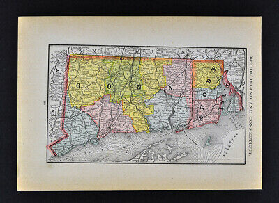 1884 McNally Map Connecticut Rhode Island Providence New Haven Newport Mystic