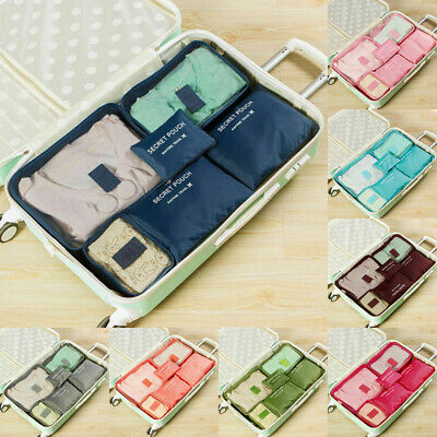 6Pcs Travel Luggage Organizer Bag Orgniser Underwear Socks Packing Cube Storage