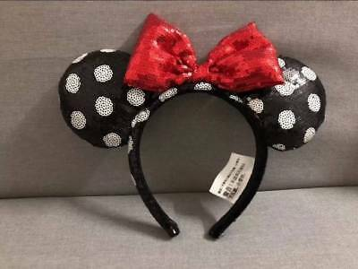 Disney Parks Minnie Mouse Red Black white dot Sequin Headband Ears Costume Bow