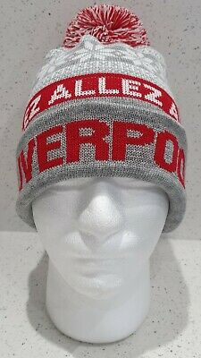 Liverpool Bobble Hat - Grey, White and Red Snowflake Style Hat - Onesize