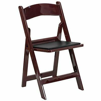HERCULES Series 1000 lb. Capacity Red Mahogany Resin Folding Chair with Black...