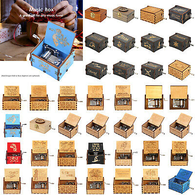 Retro Wooden Hand Cranked Music Box Engraved Toys Xmas Children Birthday Gifts
