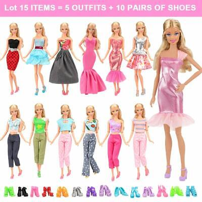 5 Sets Fashion Casual Wear Clothes Outfit With 10 Pair Shoes For Barbie Doll NEW