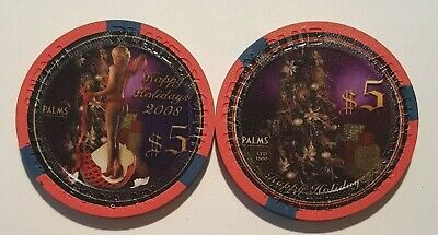 $5 Las Vegas Palms Playboy Club Happy Holidays 2008 Casino Chip - Uncirculated