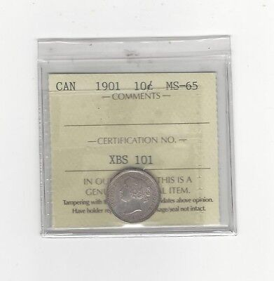 **1901**, ICCS Graded Canadian,  10  Cent, **MS-65**