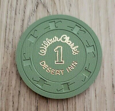 "Las Vegas Wilbur Clark's Desert Inn Casino ""1"" Chip - Near Mint - Green"