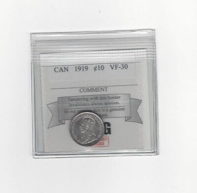 **1919**, Coin Mart  Graded Canadian,  10  Cent, **VF-30**
