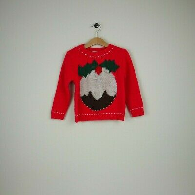 NEXT Girls Christmas Jumper - Red/Xmas Pudding - Aged 2-3 years | Used