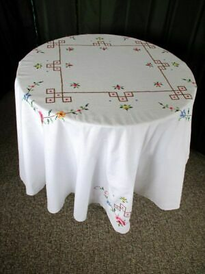 """ROUND TABLECLOTH DECORATED with HAND EMBROIDERED PINK ROSES - 66""""dia"""