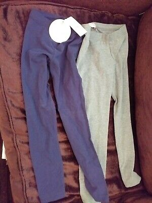 New Marks and Spencer 2 Pack Girls Leggings Blue Grey, Age 5-6 Years