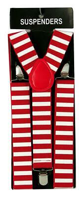 Christmas Elf Suspenders Red & White