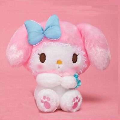 Cute Girl's My Melody Plush Doll Stuffed Toy Blue Bow Gift Collection 18cm Decor