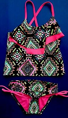 NEW Justice Girls Swim Suits Tankini Size 10 Plus Multi Color Santa Fe Style NWT