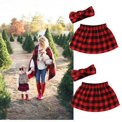 Christmas Newborn Infant Baby Girls Plaid Skirts Dress Outfits Set Clothes Red