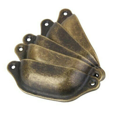 10pcs Antique Brass Rustic Cup Pull Cabinet Cupboard Drawer Door Draw Handles