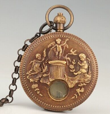 Unique China Brass Pocket Watch Embossed Angel Old Gift Collection