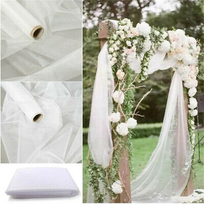 26m X 29cm Organza Roll Fabric Sheer Chair Sash Bows Wedding Table Runner Party
