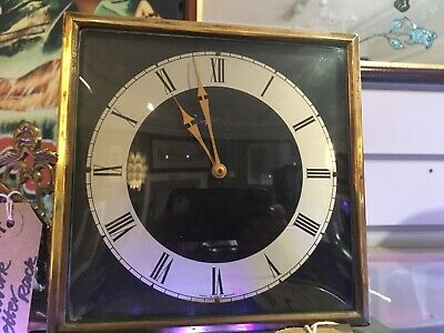 Vintage Smiths Mantel Clock Working Gold Bezel with Key  Good Vintage Condition