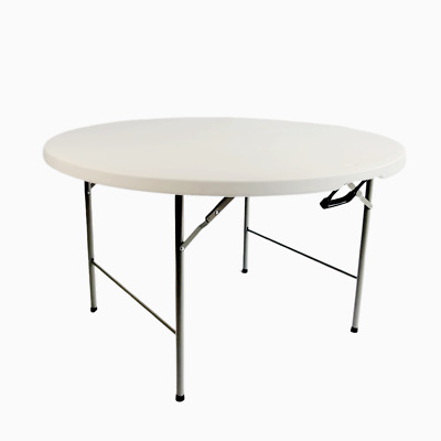 Folding Round Table 1.2M 4FT Portable Chairs Camping Trestle Picnic Party BBQ