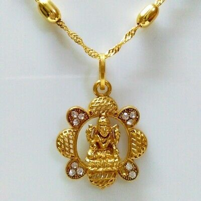 "Indian Goldplated 22"" Ball Chain Goddes Laxmi Pendant Necklace Religious Jewelry"