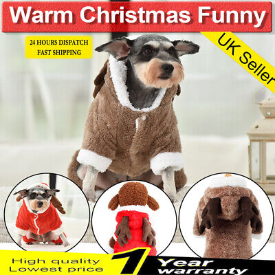 Pet Cat Dog Christmas Outfit Costumes Reindeer Hoodie Dress Xmas Clothes Coat UK