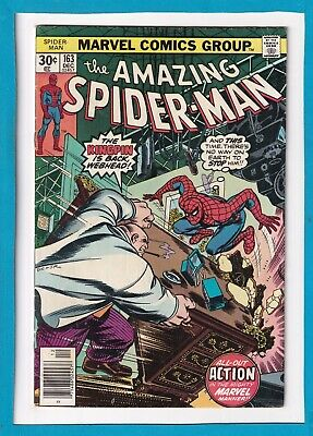 """Amazing Spider-Man #163_December 1976_Fine/Very Fine_""""The Kingpin Is Back""""!"""