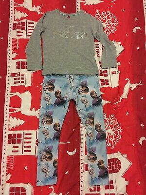 Girls M&S Frozen Pyjamas 3-4 Years Top And Bottoms Pjs Sequins Disney