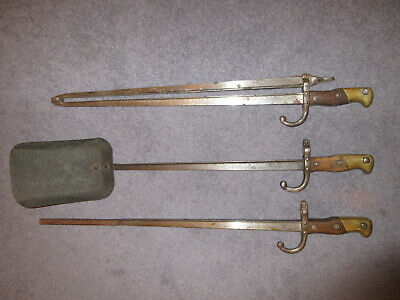 Vintage Fire Irons made from repurposed genuine French militaria 1878, 3 tools