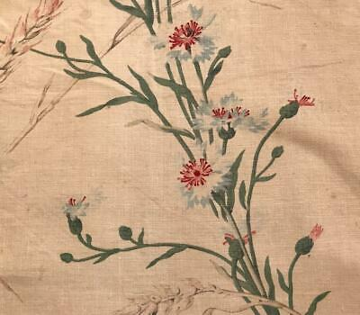 BEAUTIFUL 19th CENTURY FRENCH FINE LINEN COTTON, GENTLY FADED CORNFLOWERS 485