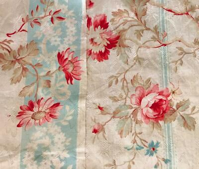 2 BEAUTIFUL FRAGMENTS LATE 19th CENTURY FRENCH FINE COTTON, ROSES FLORALS 480