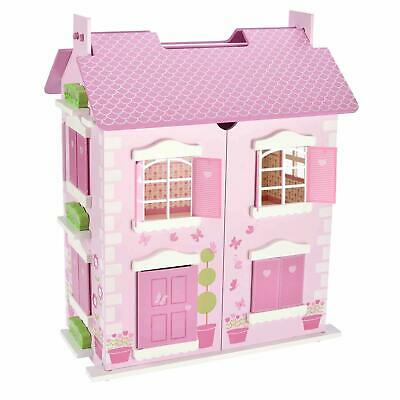 Wooden Alice Doll's House 3 Floors With 10Pcs Furnitures Toy Dollhouse Pink