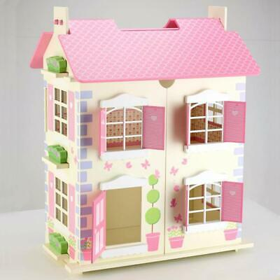 Wooden Alice Dolls House 3 Floors With Furnitures Toy Dollhouse Cream