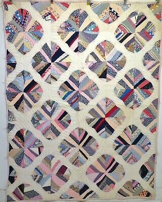 Antique 1920's Handmade Hand Stitched Feed Sack Fabric Winter Weight Quilt 86x68
