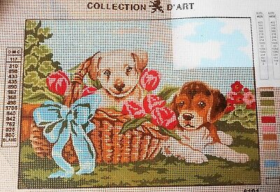 PUPPIES & BASKET - Tapestry/Needlepoint to Stitch (NEW) by COLLECTION D'ART