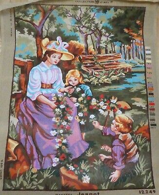 LADY & TWO CHILDREN WITH FLOWERS ~ NEW Tapestry - COLLECTION D'ART