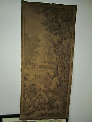 Antique Early 19Th Century French Handmade Wall Hanging Tapestry 58 Inches High.