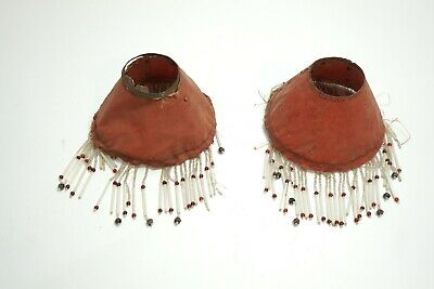 """Set Of 2 Antique Red Cloth Glass Beaded Art Nouveau Lamp Shades Pair 3"""" X 5"""""""