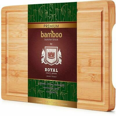 Organic Bamboo Cutting Board with Juice Groove - Best Kitchen Chopping Board for