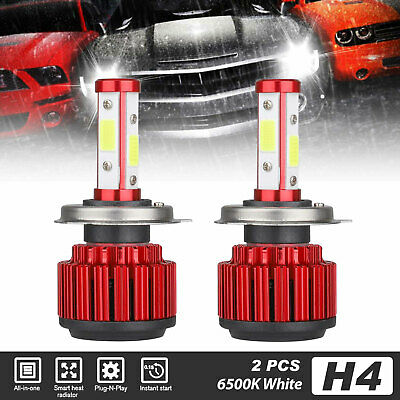 2X CREE H4 HB2 9003 100W 8000LM 4-Sides LED Headlight Kit Hi/Lo Power Bulb 6500K