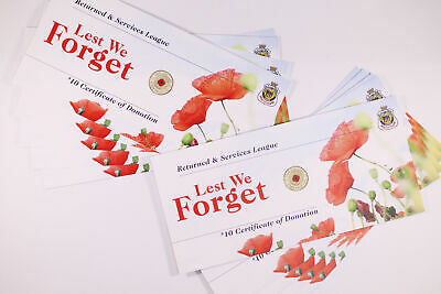 10x 2012 Coin Red Poppy Lest We Forget RSL Card (No Coin Included) D12-5
