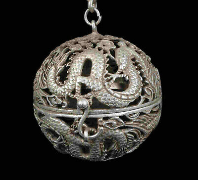 China Old Copper Tibet Silver Hand Carved Dragon Incense Burner Netsuke Ball