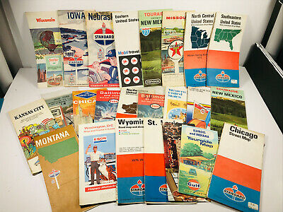 Lot VTG (20+) Gas Advertising Maps 50s 60s Esso Gulf Standard Oil Texaco Exxon