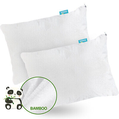 "Toddler Bamboo Terry Pillowcases with Zipper Waterproof 13""X18"" 14""X19"" 2 Pack"