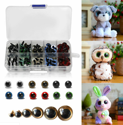 Set of 100x BLACK / COLORFUL Plastic Safety Eyes for Toys Dolls Craft DIY Tools