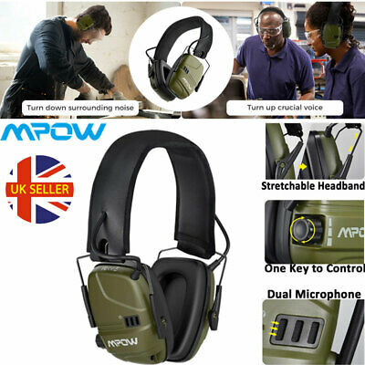 Rechargeable Electronic Ear Defenders ANC Hearing Protection Earmuffs 2 Mic AUX