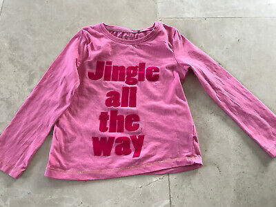 Next Ltd Ed Christmas Top 3-4 Years Girls Jingle All The Way In Pink Felt