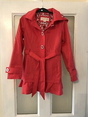 Micheal Kors Girls Raincoat Mac Coat Age 7-8 Red Worn Once