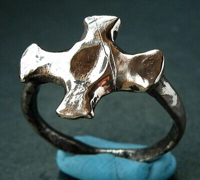A genuine ancient Medieval bronze cross ring - Crusaders from Cyprus