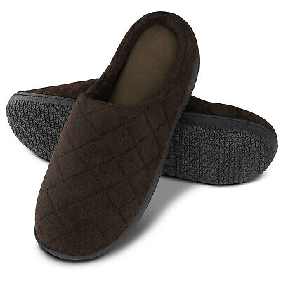 Mens Warm Winter Comfort Quilted Cotton Memory Foam Slippers Anti-slip On House